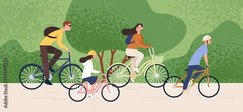 Fototapeta Active family riding on bike at forest park vector flat illustration. Mother, father, daughter and son cycling together. Parents and kids enjoying healthy lifestyle. Recreational outdoor activity obraz