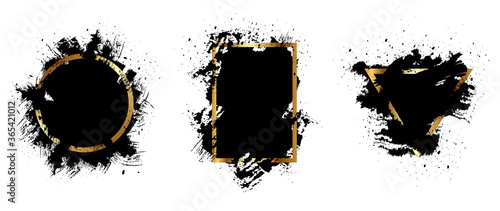 Valokuva Black and gold grunge with frame vector, Collection of Grunge background, Spray Paint Elements, Black splashes set, Dirty artistic design elements, ink brush strokes, Vector illustration