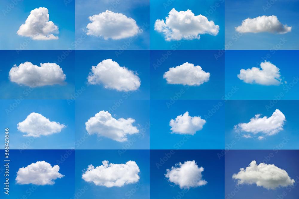 Fototapeta Beautiful minimal single nature white cloud on blue sky background collection.