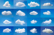 Beautiful minimal single nature white cloud on blue sky background collection.