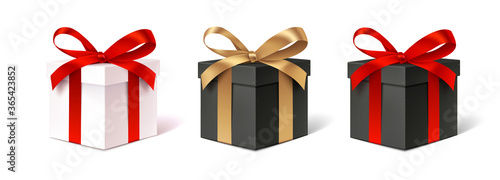 Obraz Set of decorative gift boxes isolated on white. Holiday decoration. Black friday sale collection. - fototapety do salonu