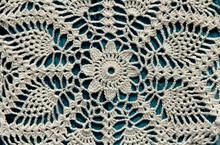 Beautiful Closeup Crochet Doily On Blue Wooden Background