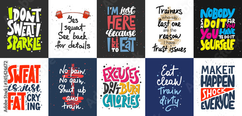 Set of 10 motivational and inspirational lettering posters, decoration, prints, t-shirt design for sport, gym or fitness Wallpaper Mural