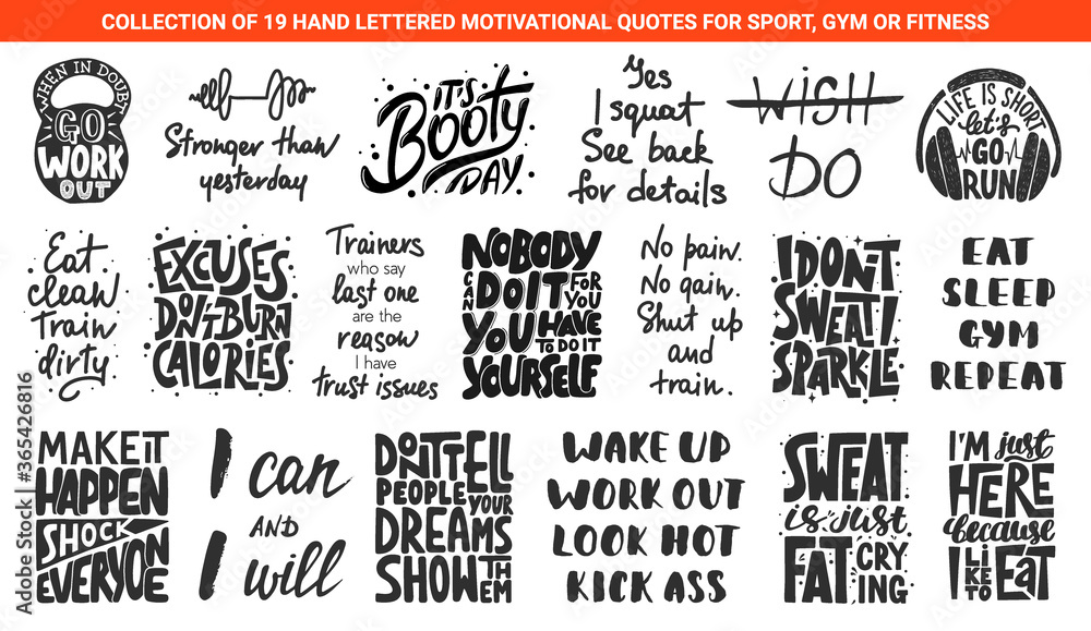 Fototapeta Set of 19 motivational and inspirational lettering gym or fitness quotes for posters, decoration, prints, t-shirt design. Hand drawn typography. Handwritten sport slogans. Modern brush calligraphy.
