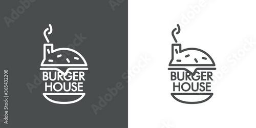 Concepto restaurante de comida rápida. Logotipo lineal con palabra Burger House en hamburguesa con chimenea en fondo gris y fondo blanco