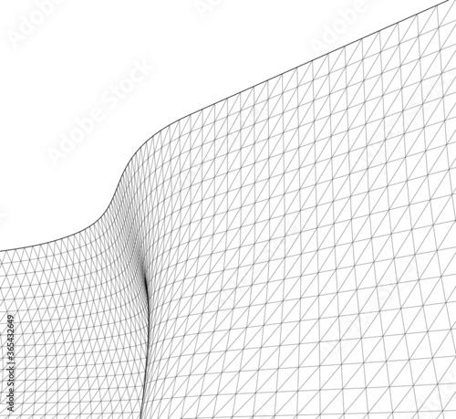 Canvastavla abstract architecture wave 3d illustration
