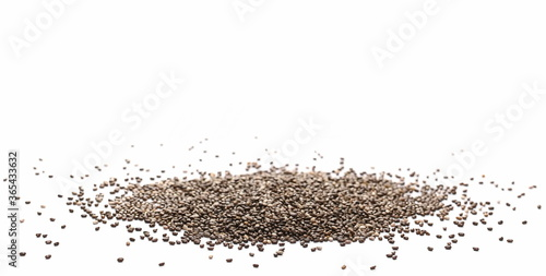 Chia seeds pile isolated on white background Canvas Print