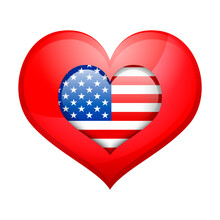 Heart With American Flag