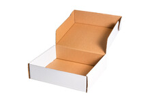 Flat White Cardboard Carton Boxes, Isolated