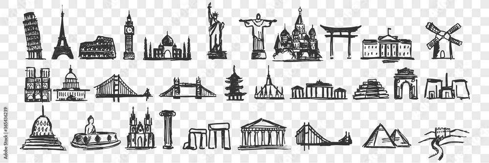 Fototapeta Hand drawn landmarks doodle set