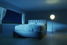 3d Rendering Of Bedroom With An Elegant Bed Next To The Lighten Lamp
