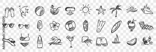 Cuadros en Lienzo Hand drawn summer symbols doodle set