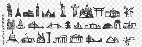 Foto Hand drawn landmarks doodle set