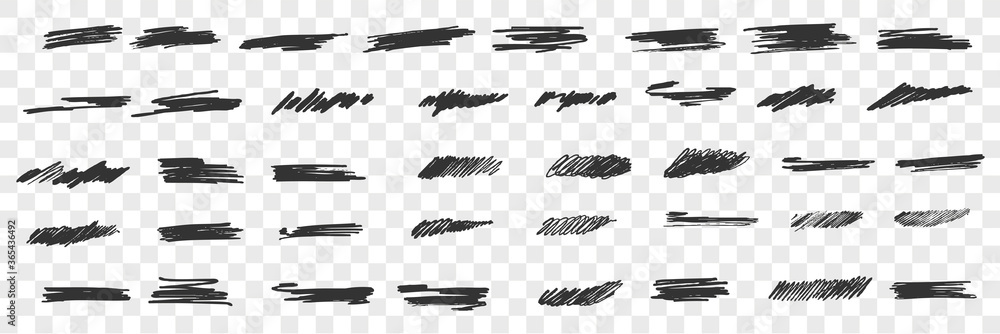 Fototapeta Brush hand drawn scribbles doodle set