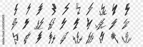 Hand drawn lightning doodle set Fototapete