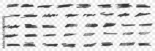Tablou Canvas Brush hand drawn scribbles doodle set