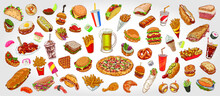 Hand Drawn Colorful Background With Food And Beverage Varieties.