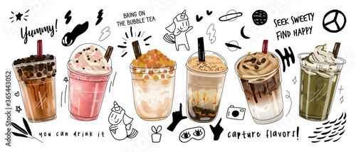 Obraz Bubble milk tea Special Promotions design, Boba milk tea, Pearl milk tea , Yummy drinks, coffees and soft drinks with logo and doodle style advertisement banner. Vector illustration. - fototapety do salonu