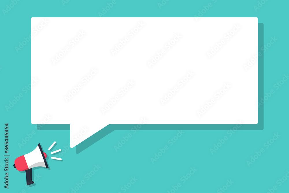 Fototapeta Megaphone announced with speech bubble in a flat design