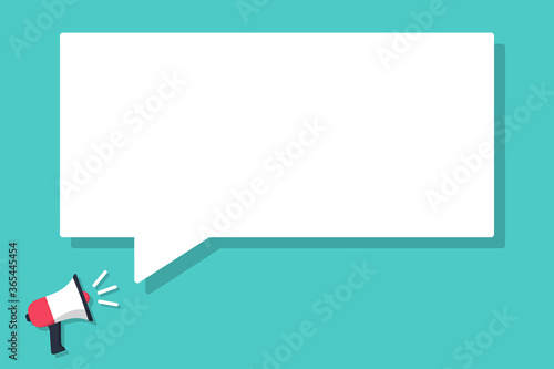Fototapeta Megaphone announced with speech bubble in a flat design obraz