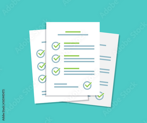 Cuadros en Lienzo Document checklist paper sheets pile with tick in a flat design