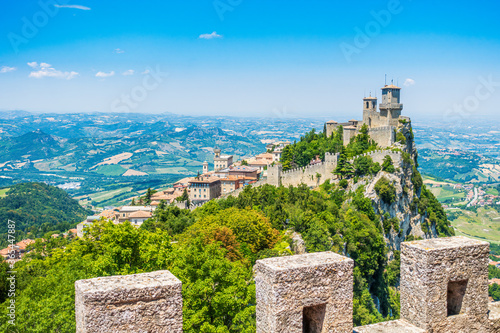 San Marino, Guaita, first of three peaks which overlooks the city. The Guaita fortress is the oldest of the three towers constructed on Monte Titano and the most famous. One of Three Towers