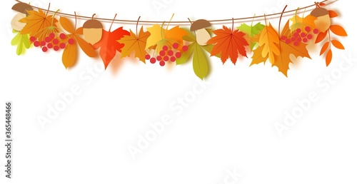 Slika na platnu Autumn leaves and harvest hang on a rope in paper cut style