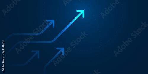 Fotografia, Obraz Up arrows on blue background illustration, copy space composition, business growth concept