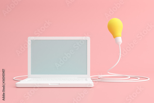 Mock up of laptop with light bulb. 3d render.
