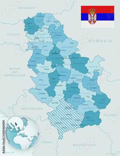 Fotografía Blue-green detailed map of Serbia administrative divisions with country flag and location on the globe