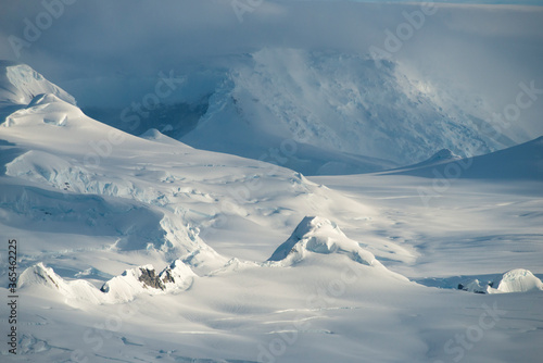 Summer in Antarctica, moutains full of snow