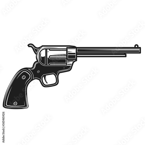 Fényképezés Illustration of cowboy revolver isolated on white background