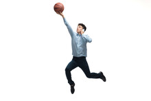 Leader. Man In Office Clothes Playing Basketball On White Background Like Professional Player, Sportsman. Unusual Look For Businessman In Motion, Action With Ball. Sport, Healthy Lifestyle, Creativity