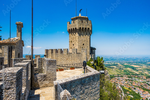 San Marino, Fratta, the second of three peaks which overlooks the city. The tower is located on the highest of Monte Titano's summits. The tower is to honor Saint Marinus.
