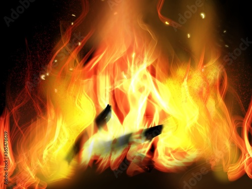 Leinwand Poster Black background and bonfire