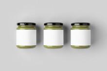 Pumpkin, Hemp Seed Butter Jar Mockup With Blank Label.