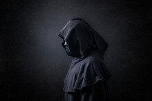 Scary Figure In Hooded Cloak I...