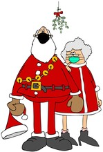 Santa And Mrs. Claus Standing Under Mistletoe And Wearing Face Masks