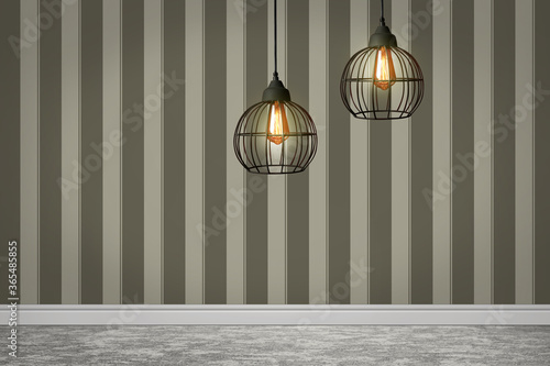 Fotografie, Obraz Stylish pendant lamps hanging near striped wall in room