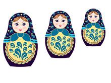 Three Russian Nesting Dolls Matryoshka Isolated On White Background