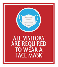 Red Face Mask Required Sign With Protective Face Covering Icon Vector Illustration