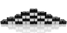 Black And White Puzzle Pieces Stacked On Either Side Of A Pyramid