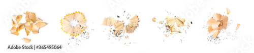 Photo Pencil shavings on white background, top view. Banner design