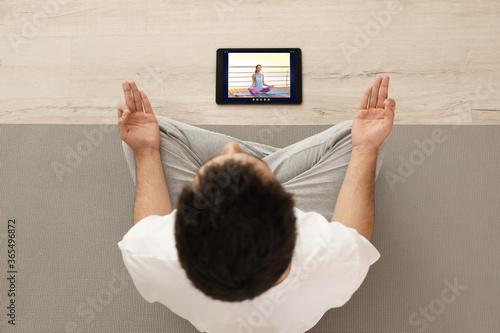 Fotografie, Obraz Distance yoga course during coronavirus pandemic