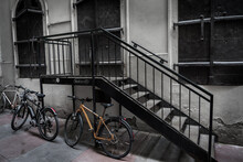 Old Bicycles Parked On Iron St...