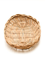 Wicker Basket, Wood Serving Tray, Kitchen Tray. Isolated White Background.