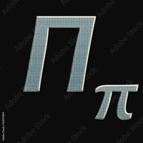 Fototapety, obrazy: shiny metallic greek upper 3d letter Pi made of silver/chrome