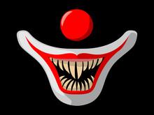 Cartoon Scary Movie Poster With Creepy Clown Face. Halloween Vector Illustration.