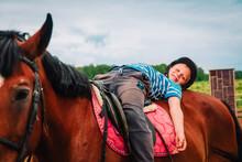 Boy Horseback Riding, Performi...