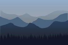 Flat Mountain Landscape. Morni...